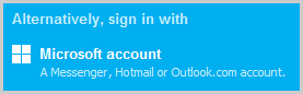 The Microsoft account option on the Skype sign-in screen.