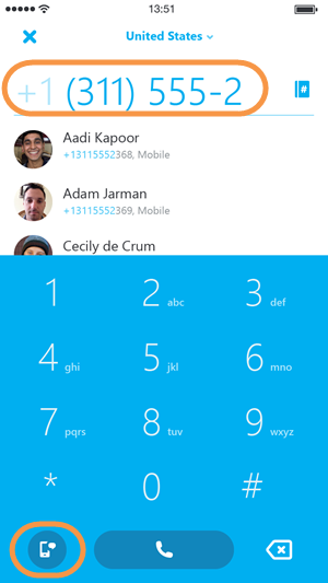 how to call a sms number from skype