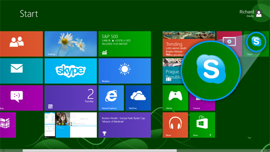 The Start screen with the Skype for Windows desktop icon displayed alongside the other apps.