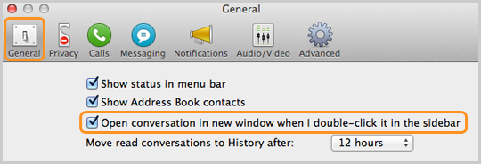 "The option ""Open conversation in new window when double-click it in the sidebar"" checked under Skype Preferences."