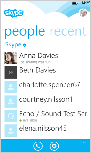 The list of Skype contacts under people.