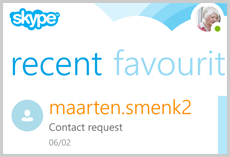 A contact request displayed under recent.