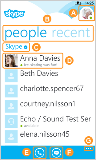 The Skype home screen displaying the profile picture, the people and recent option, contact lists filter, Skype contacts, the new call and messages icons and the settings option.
