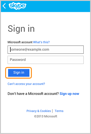 The Sign in button selected in the sign in with your Microsoft account screen.