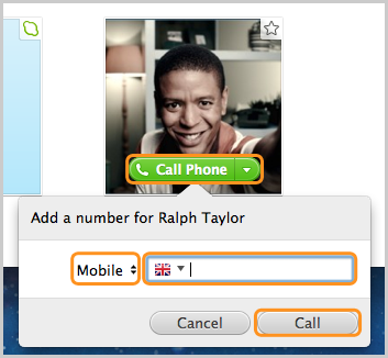 The Call Phone option selected to add and call a mobile number.