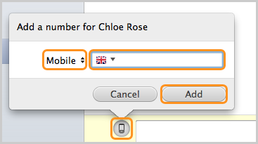 The Add a number for the contact window - the box to enter the number, the Add button and SMS text message icon are selected.