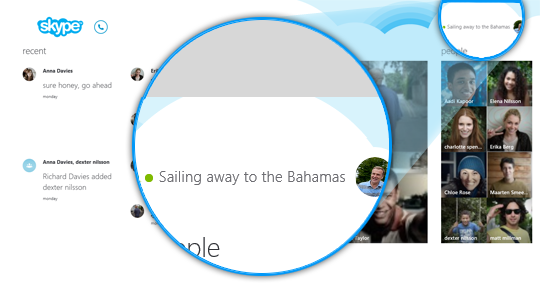 The profile icon in the top right corner of Skype Home.