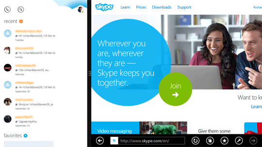 Ridimensionamento della snap view di Skype e di Internet Explorer.
