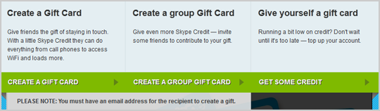 "Create a Gift Card, Create a group Gift Card, and Give yourself a gift card"" options displayed when creating a Skype Gift Card."