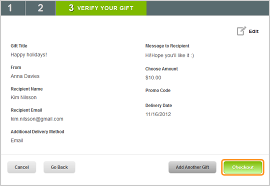 Verify Your Gift screen before Checkout of the Skype Gift Card purchase.