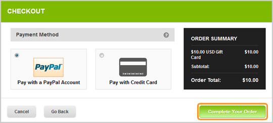 Choose the Payment Method - PayPal or Credit Card - to complete your purchase of the Skype Gift Card.