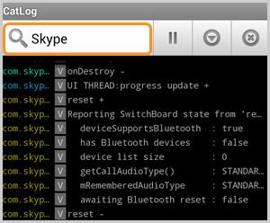 A caixa de busca do aplicativo CatLog-Logcat Reader!, mostrando o arquivo de log para o Skype.