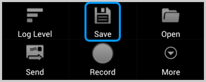Affichage de l'icône de sauvegarde de l'application Cat Log vous invitant à enregistrer le fichier journal pour Skype sur votre carte SD.