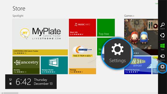 Accesso Settings (Impostazioni) visualizzato nella parte destra della schermata del Windows Store.