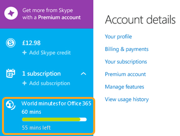 The subscriptions section showing the used and remaining minutes under World minutes for Office 365.