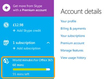La sección de planes que muestra los minutos usados y los que quedan en Minutos a todo el mundo para Office 365.