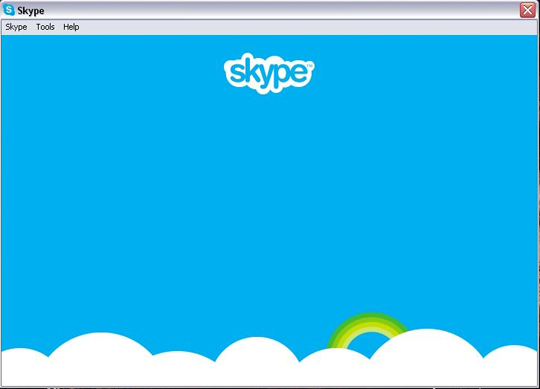 A blank blue screen displaying with the Skype logo