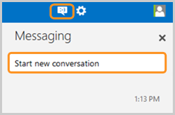 tart new conversation selected after clicking the messaging icon.