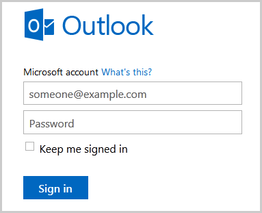 Microsoft Outlook sign-in window