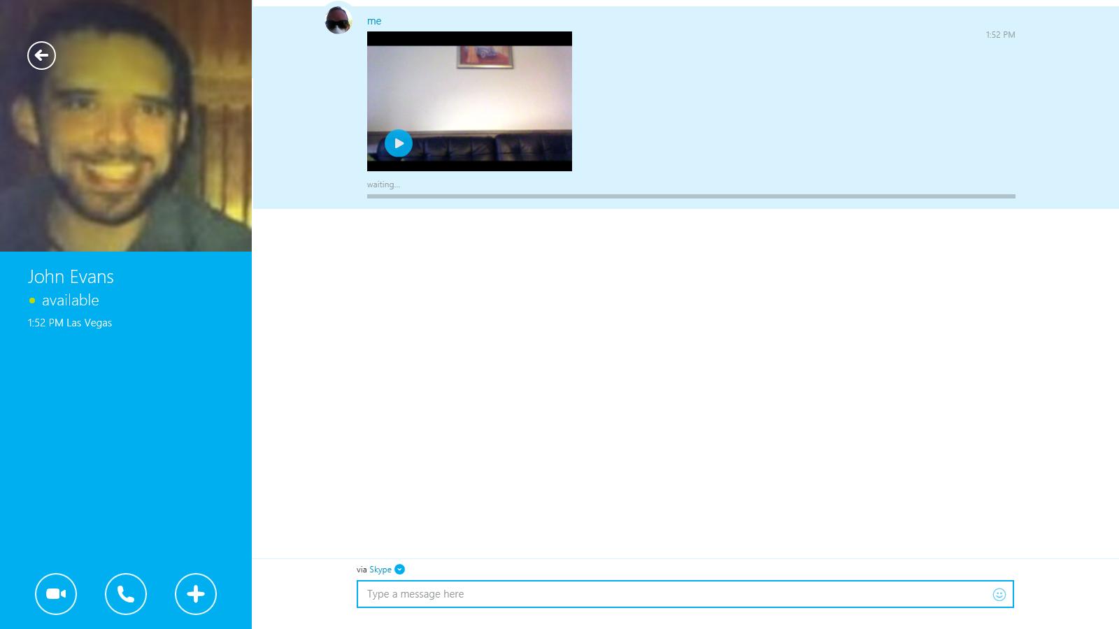 Videomessaggio visualizzato nella finestra di conversazione.