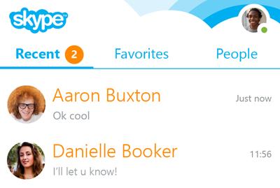 Mensagens de chat listadas em Recent (Recentes).