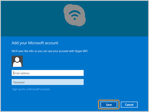 The Save option selected in the Add your Microsoft account screen.
