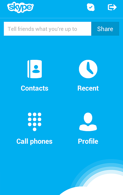 The main screen of Skype 3.2 for Android phones and of Skype for tablets running in the Classic view