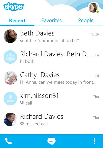 Главный экран Skype 4 для телефонов Android.