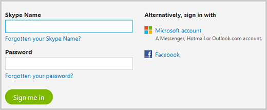 The sign in options to access your Skype profile information.