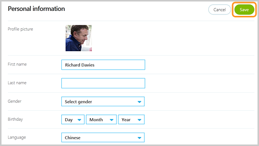 The Save button highlighted on the Skype Personal information page.