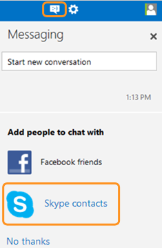 Skype contacts selected in the Messaging panel after clicking the messaging icon.