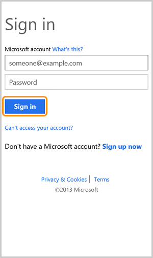 The sign in with your Microsoft account screen with the Sign in button selected.