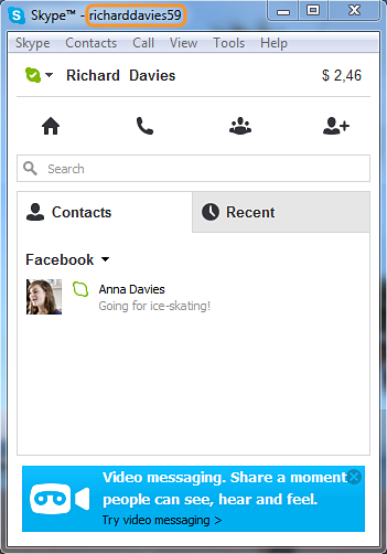 Skype Name highlighted in the Skype for Windows desktop window.