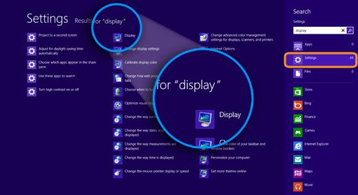 Resultados de 'pantalla (display)' y la opción Configuración (Settings) seleccionada, a la derecha en la pantalla.
