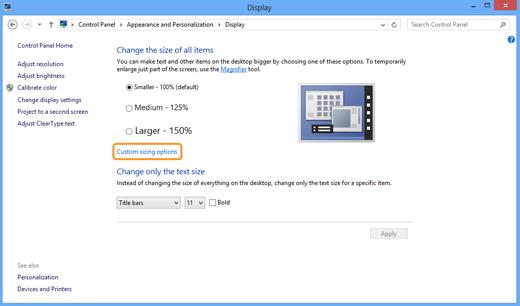 Opciones de tamaño personalizado (Custom sizing options) seleccionada en la ventana Pantalla (Display).