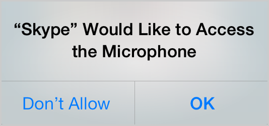 Screenshot of iOS 7 device screen showing the message asking for permission for Skype to access your microphone. Click the Don't Allow or the OK buttons