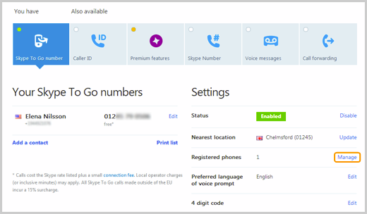 The Manage option selected on the Skype account webpage to register a phone number to call a Skype To Go number from.