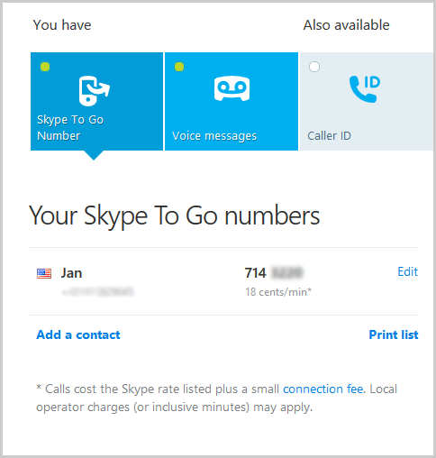 A Skype To Go number displayed on the Skype account webpage.