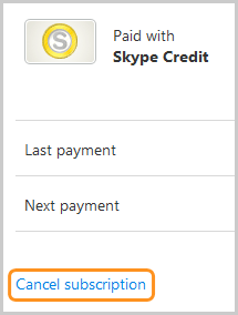 The Cancel subscription option selected on the Skype account webpage.