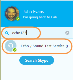 Echo/Sound Test Service option selected in the contact list