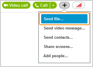 The Send file option selected from the menu that appears after clicking the plus button.