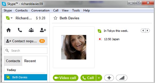 The Conversation window displayed after selecting the contact in the Contact tab.
