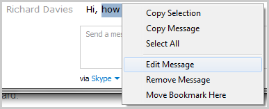 Edit Message option selected from the window displayed after right-clicking the message