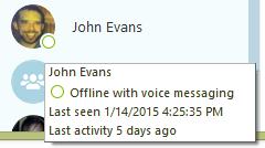 Für einen Kontakt mit dem Status Offline werden weitere Informationen angezeigt: Anrufweiterleitungsoptionen, das Datum der letzten Aktivität und der letzten Unterhaltung mit Ihnen