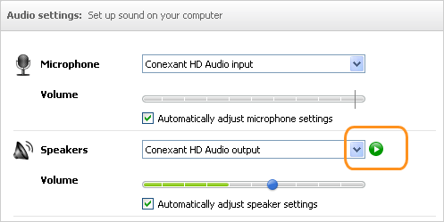 Audio settings options for microphone and speakers with the Play button highlighted.