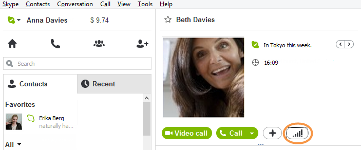 The call quality icon selected in the conversation window.