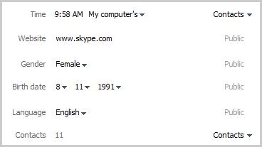 Um exemplo de uma seção perfil em que você poder editar as informações do seu perfil do Skype e controlar quem pode vê-las.