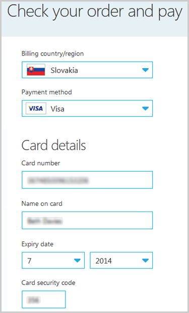 The Check your order and pay window with the fields to choose your billing country, payment method and to enter payment details displayed.