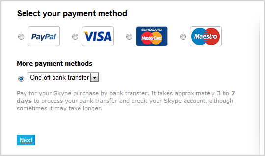 The Next button selected after choosing the One-off bank transfer option from the More payment methods drop-down list.