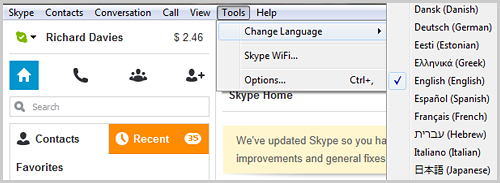 Screenshot of the Skype for Windows desktop application displaying the Change Language option selected from the list that appears after clicking the Tools option from the Skype menu bar